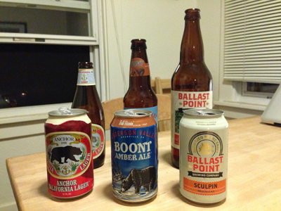 Taste test two: Anchor Brewing Anchor California Lager, Anderson Valley Boont Amber Ale, Ballast Point Sculpin IPA.