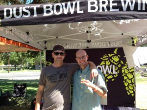 Nathan Pierce and Scott Chaffee, Sales Manager from Dust Bowl Brewing Company (left), at Smoke on the River, Sacramento, California, September 6, 2014.