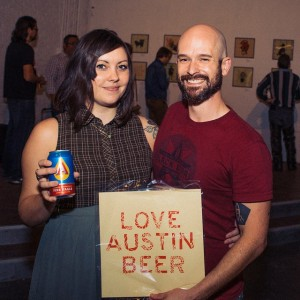 "Jessica Brook Deahl, an accomplished and self-proclaimed ""Beer Artist"" at her opening show with head brewer Chris Hamje of Black Star Co-op."
