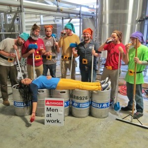 Nadia Vazirzadeh, at Golden Road Brewing, convinced the 7 brewers into dressing up like Snow White's 7 Dwarves for Halloween.