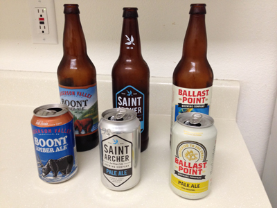 Taste test one: Anderson Valley Boont Amber Ale, Saint Archer Pale Ale, Ballast Point Pale Ale.